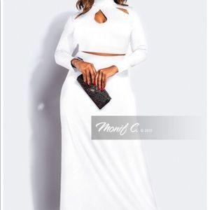 Monif C Off White 2 Piece Crop Top & Maxi Skirt